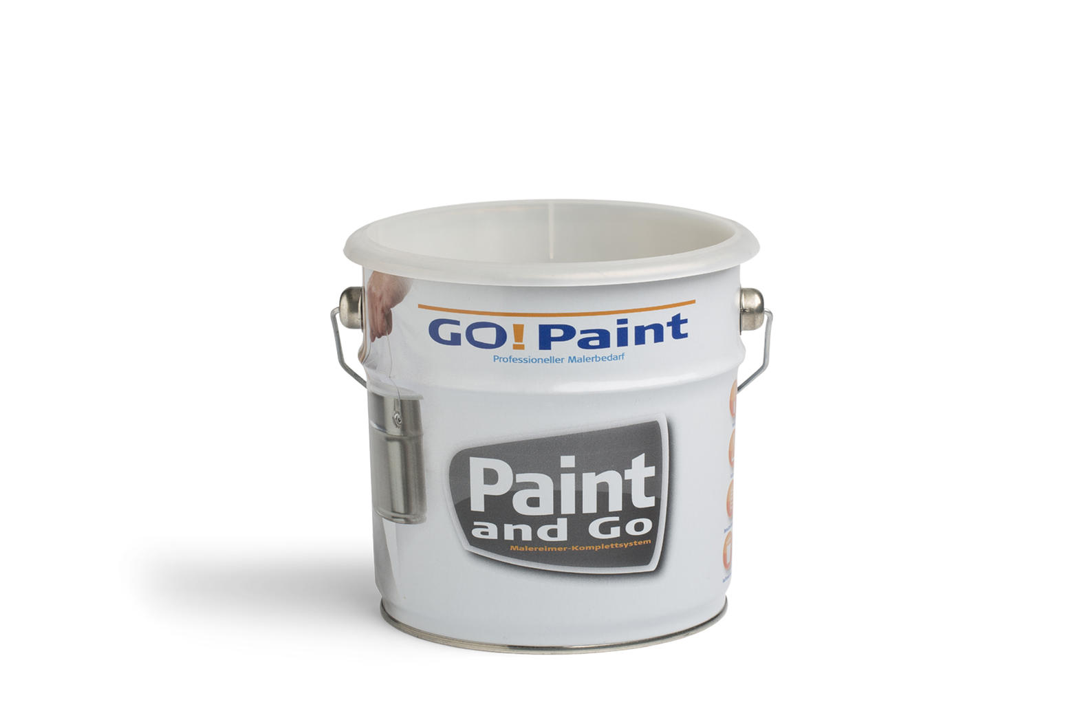 The Paint and Go is a paint kettle containing a plastic insert.