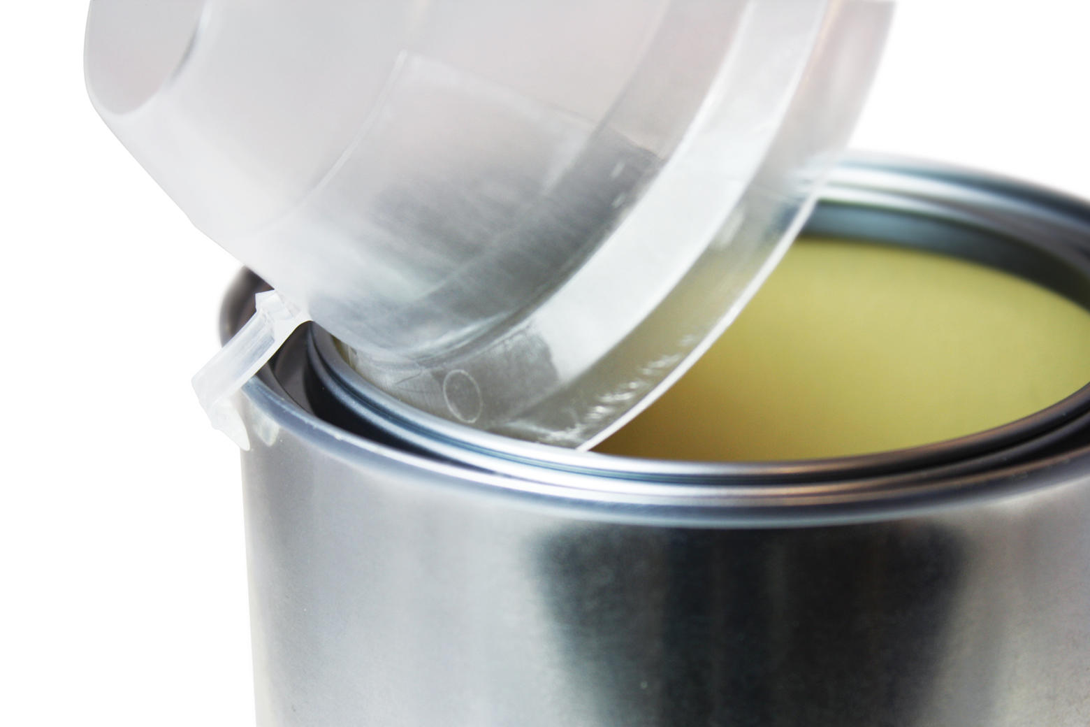The hook of the Pour and Go snaps on the outside of the can, the lip goes inside and fills the rim for better emptying the paint can.