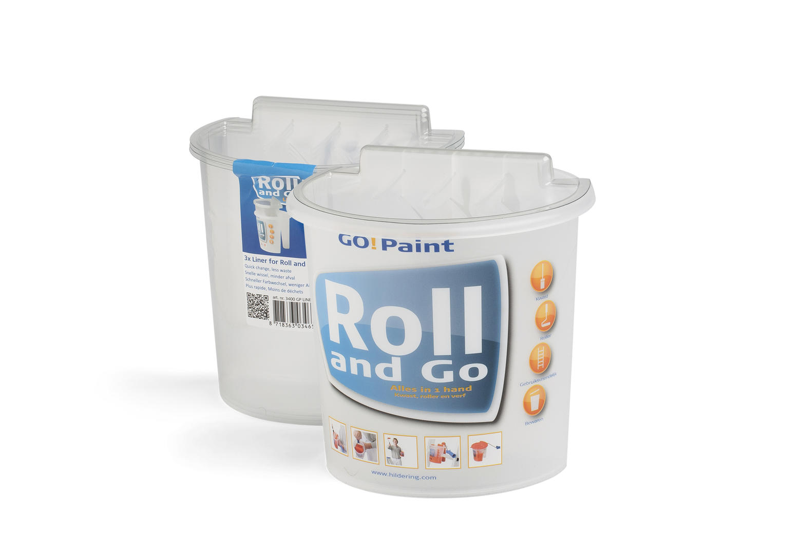 Roll and Go paint scuttle for all paints and lacquers, with disposable liners.