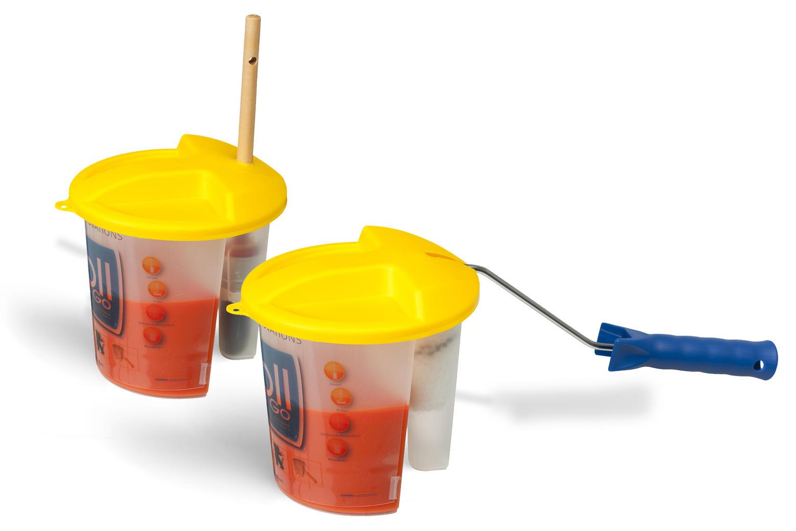 Tijdens een pauze kan je zowel de verf als de kwast of roller even wegzetten als je het deksel op de Store and Go plaatst.