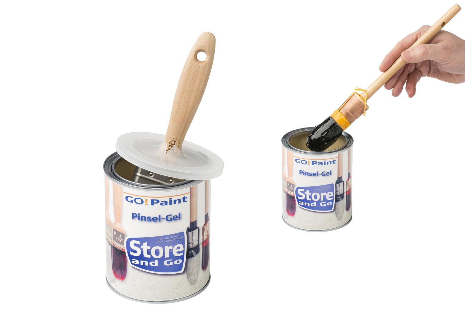 In de kleine pot bewaar je één of twee kwasten, heel handig voor je favoriete kwastje. Schoonmaken voor het wegzetten is dan niet nodig.