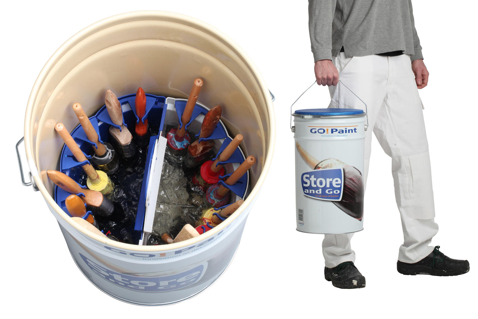 Extra large container with gel for storage of many paint brushes, even bent radiator brushes.
