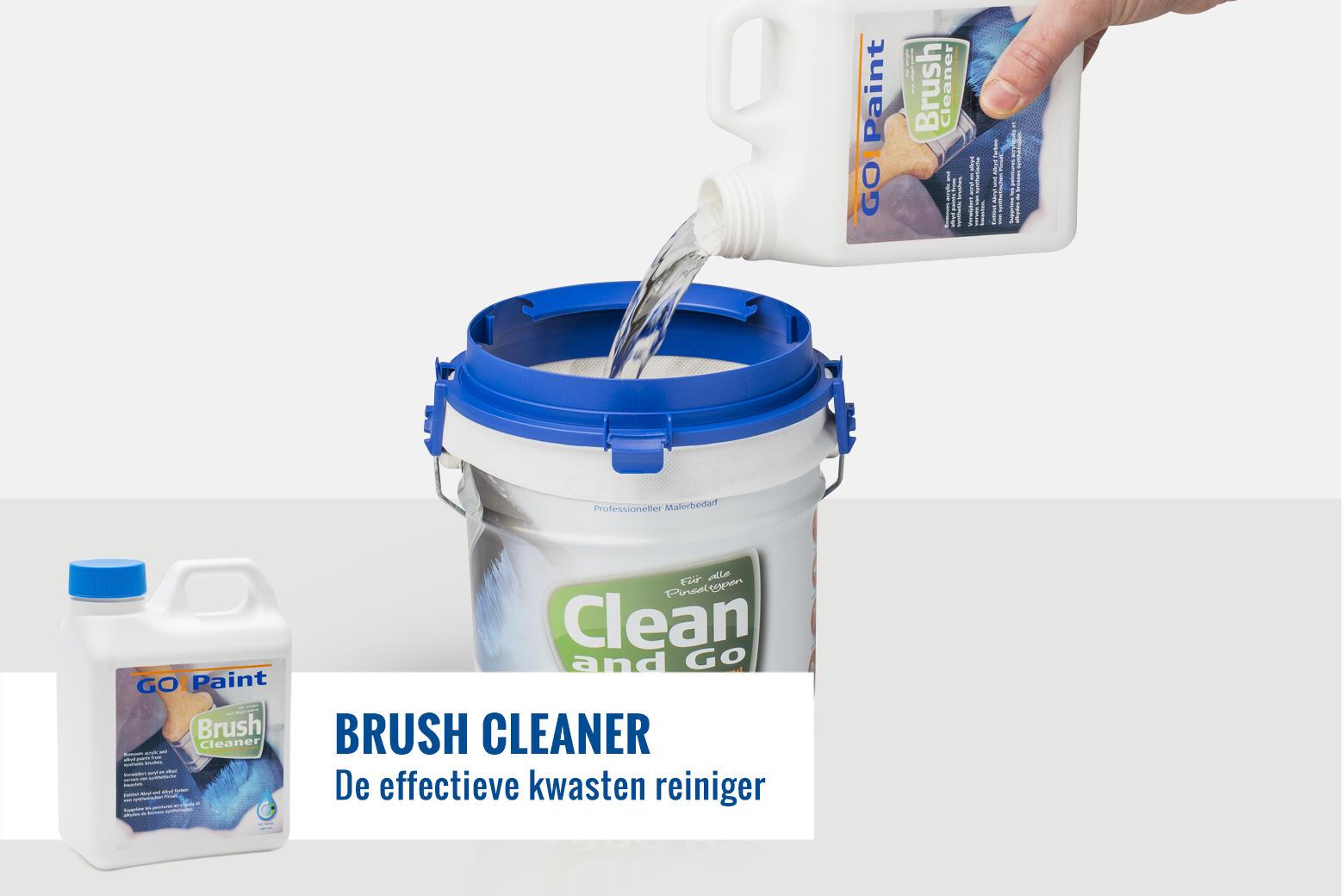 Go!Paint BrushCleaner is het milieuvriendelijke alternatief voor terpentine en water voor het schoonmaken van kwasten.