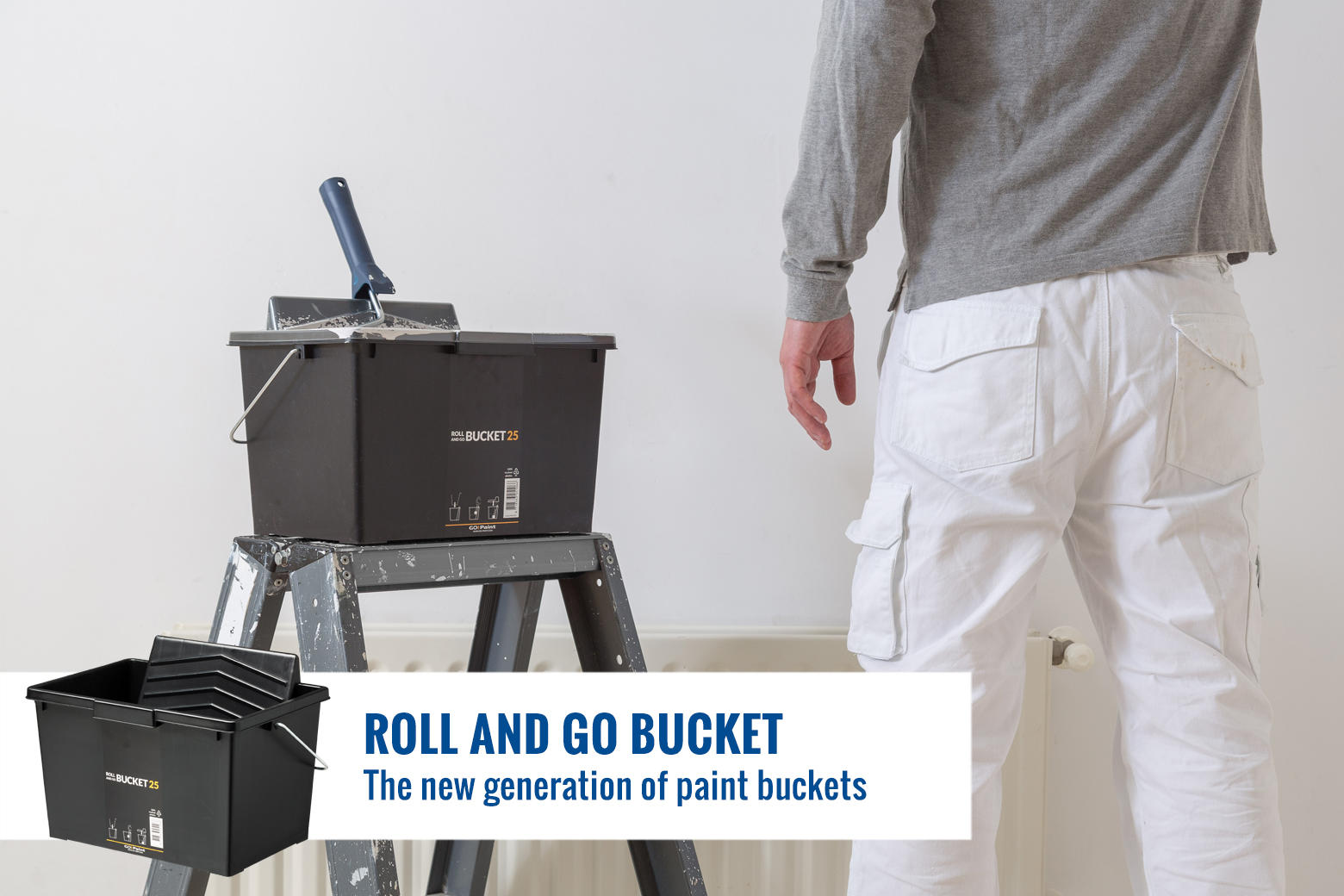 Sturdy paint buckets that als fit the ladder platform