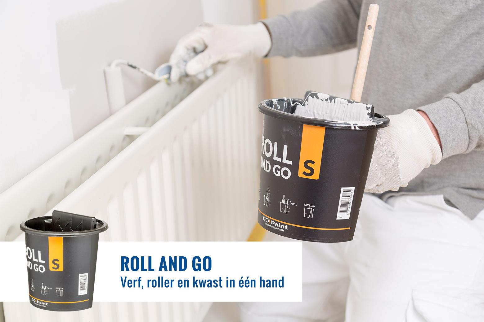 Schilderen met kwast en roller uit één handig rolbakje, de Roll and Go is een zeer geliefde tool voor beweeglijke schilderklussen.