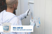 Easy and fast painting and rolling of a door with a Roll and Go.