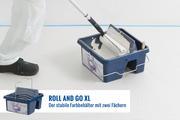 Der Roll and Go XL ist so stabil, dass er auch dann nicht kippt, wenn man den Farbroller auf einer Stange kräftig auf der Rollfläche abrollt